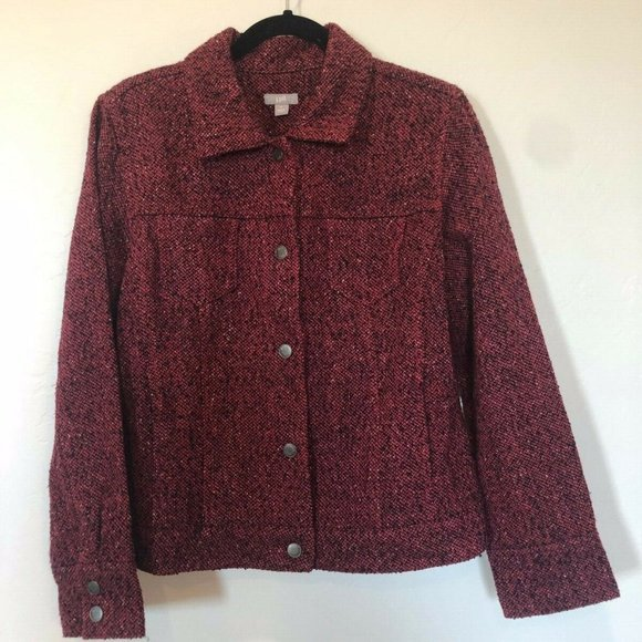 J. Jill Red and Black Wool Blend Button Jacket M